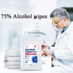 10pcs / saco de 75% de álcool toalhetes desinfecção descartável Mão Wet Wipes Álcool Pele Limpeza Limpe portátil limpa desinfecção Dipes