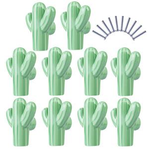10pcs / Set Children Cactus Shape Ceramic Door Knob Furniture Handle Drajor Chabitchen Pull Handle-Light Green