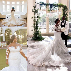 Arabic Plus Size Mermaid Wedding Dresses Long Sleeves Sheer Neck Lace African Bridal Gowns Vintage robe de mairee