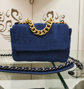 vendas Hot nova senhoras designer de moda sacos de corrente de ouro bolsa de mensageiro pequeno ombro saco de denim diamante lavado ombro retro ofício saco azul