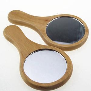 Натуральное дерево зеркало Деревянная рука Зеркало Урожай 1PC Портативный компактный макияж тщеславия Ручной зеркало с ручкой RRA1387