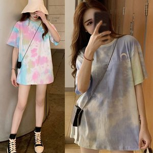 Women's Casual Tie Dye Tee Shirt Round Neck Print Short Sleeve Loose Korean Style Ladies Sweet Tops Women Clothing S1