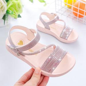 Children Shoes Girls Princess Dance Sandals Kids Shoes Glitter Leather Fashion Girls Party Dress Wedding Shoes Flat Rhinestones