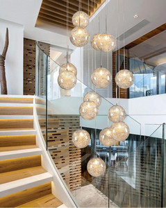 Creative Glass Chandelier Light Aluminum Wire Nordic Pendant lights Modern 15 18 24 30 36  Rings Long Hanging Line Adjustable Includes Bulb