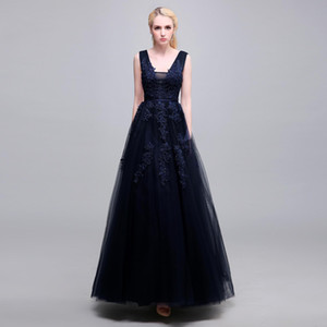 Elegant Navy Blue V Neck Lace Evening Dresses Formal Wear Sleeveless Simple Modest Floor Length Prom Dresses After Party Gowns