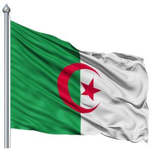 Алжир Флаг 90x150cm хорошее качество Дешевые цена алжирские национальные флаги 3x5 футов Баннер Сделано из полиэфира, свободная перевозка груза
