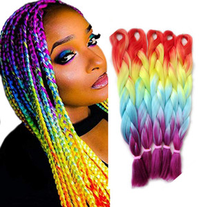 Synthetic Braiding Hair Extensions Rainbow Ombre Jumbo Braid for Twist Braiding Hair High Temperature Fiber Hair Extensions 24inch 5Pcs Lot