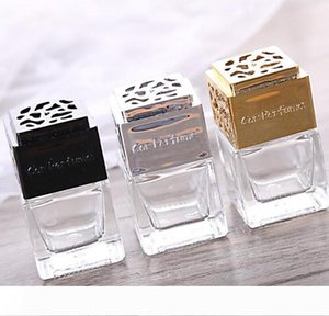 4colors Car Hanging Perfume Cube Perfume Bottle Air Freshener Essential Oils Diffusers Fragrance Empty Glass Bottle GGA3379