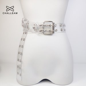 pparel Accessories Belts Two Row PVC Clear Belt For Women Fashion Pin Buckle Female White Waist Trousers Transparent Belts Ladies Jeans G...