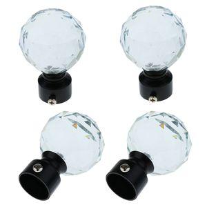 4x Kristal Küre Perde Pencere Pole / 28mm Dia Uyumlu Rod End. Çubukları Dökümlülük Raylı Pole Başkanı Cap fit 28mm Perde Rod