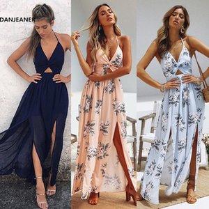 DANJEANE Womens Summer Boho vestido largo maxi Vestidos de playa Sexy Cuello en V Fuera del hombro Floral Vestido de espalda descubierta Arco sin espalda Vestidos