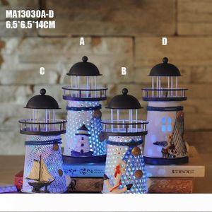 A Event Party Supplies 14cm Mediterranean style home decor lighthouse iron wedding decoration nautical decor led holder