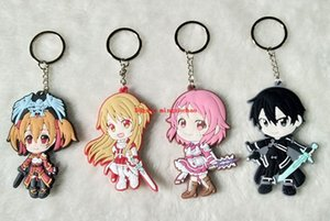 Lot 10 pcs Anime Épée Art En Ligne Yuuki Asuna Téléphone Portable porte-clés Kirito Shinozaki Rika Ayano Keiko mignon pendentif drôle porte-clés enfants cadeaux