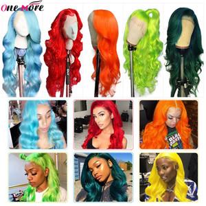 One More verde escuro onda do corpo de perucas de cabelo humano cabelo humano peruca brasileiro 150% Vermelho Rosa Perucas Laranja parte dianteira do laço