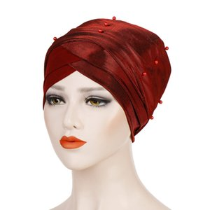 NEW Luxury pleated beaded Silky magic Turban hijab Head Wrap Extra Long tube indian Headwrap Scarf Tie