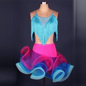 ballroom fringe latin dance dress women competition profi tassel elegant senior for girls competition dresses ladies tango