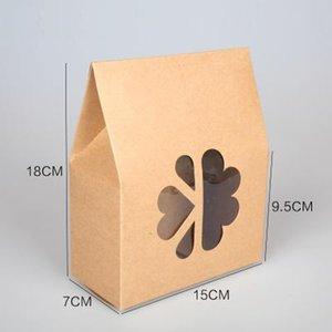 açık pencere Çerezler Şeker saklama kutusu DIY Pişirme ambalajı ile kraft kağıt hediye kutusu kadar 20pcs / lot- büyük küçük boyutlu Standı