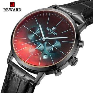 REWARD 2019 Fashion Casual Orologi da uomo di lusso in pelle affari orologio da uomo al quarzo Sport militare orologio da polso Relogio Masculino