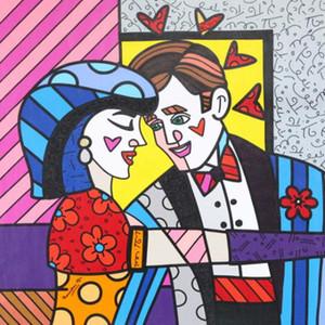 Romero Britto Oeuvres S'IL VOUS PLAÎT Home Decor Artisanats / HD huile d'impression Peinture Sur Toile Art mur toile Photos 200512