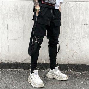 Hip Hop Joggers Hommes Noir Sarouel Rubans multi poche personnalité Pantalons Crayon japonais Streetwear Cargo Hommes