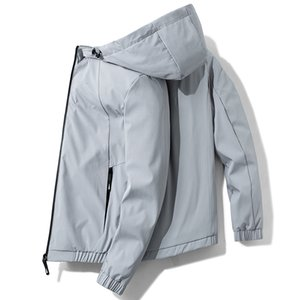 Men's Jackets Jacket Men 2021 Sliming Large Size Zipper Pocket Hooded Casual