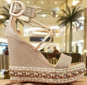 Summer Chocazeppa Red Bottom Sandals Wedge Studs Sexy Women High Heels Gold Glitter Leather Ankle Strap Ladies Gladiator Sandal EU35-42