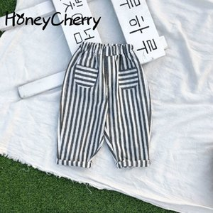 Spring 2020 Children's Wear New Korean Version Children's Trousers For boy and girl Halen Striped Casual Trousers Y200704