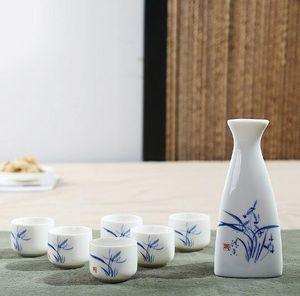 Sake giapponese set di mano di fiori dipinto di vino in ceramica Coppe Bottiglia nf elegante Sake pentola Drinkware doni della moda piatto: 150ml / tazza: 25ml