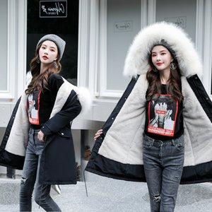 PinkyIsBlack -30 grados de desgaste de la nieve chaqueta larga Parkas invierno forro piel de las mujeres con capucha Ropa Mujer abrigo de pieles de las mujeres gruesas de invierno