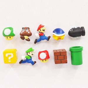New 10Pcs Set 3D Super Mario Bros Fridge Magnets Refrigerator Note Memo Sticker Funny Children Gift Toys L555