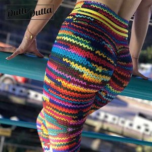 Dutte печати Дутта рюшами леггинсы женщины Спорт фитнес брюки йога тренажерный зал 3Д Харадзюку колготки пуш-ап спортивные леггинсы йоги