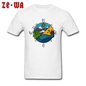 White Tshirts Men T-Shirt Color Compass Hip Hop Tops Shirts Cotton Clothes Crew Neck Short Sleeve Personalized T Shirt Summer