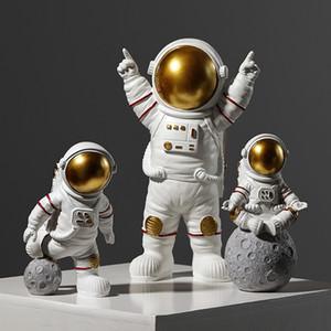 Modern astronauta escultura de resina Figura Statuetes Spaceman Abstract Estátua Decoração Acessórios Craft estatueta Decor