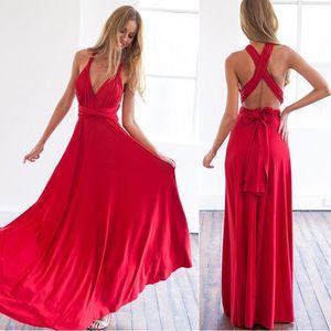 Envoltório Convertible Boho Maxi Clube Red Dress Bandage vestido longo festa Bridesmaids Infinito Robe Longue Femme