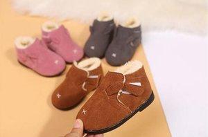 Plus velvet thickening winter children's Korean cotton boots men and women flat warm shoes small cotton shoes toddler shoes