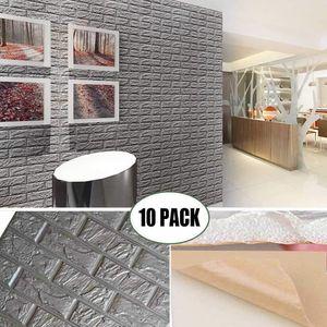 3D Foam Wandpaneele Grau Farbe Peel and Stick Brick Wallpaper Self-Adhesive Removable für TV Wände, Hintergrund-Wand-Dekor
