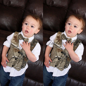 2019 Custom Camo Boy's Formal Wear Camuflaje Real Tree Satin Chaleco Venta barata Sólo chaleco para la boda Kids Boy Ropa formal