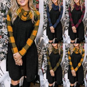 4 couleurs Femmes Robe à carreaux à manches longues robe Brochage Pile collier à la mode et décontracté automne Mode hiver Asain Taille S-XXL