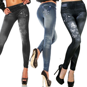 HIRIGIN Женщины Печатные Поддельные джинсы леггинсы осень Джинсовые брюки Узкие джинсы Брюки Искусственные Stretch Тощий поножи карандаш штаны