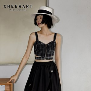 CHEERART Black Plaid Zip Up Crop Top Summer Cut Out Cami Top Spaghetti Strap Bustier Backless Bralette Crop Tube 2020