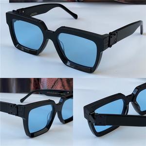 Erkekler tasarım güneş gözlüğü 96006 kare siyah çerçeve mavi lens yeni renk en kaliteli yazlık açık avangard UV400 lens milyoner
