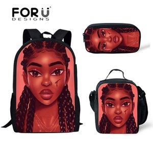 Forudesigns çocuklar için okul çantaları siyah sanat afrika kız baskı omuz bagpack çocuk 3 adet / takım okul kitap çanta satchel yeni
