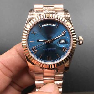 Лучшие часы синий циферблат DAY / DATE розовое золото из нержавеющей Часы Самая низкая цена Mens женщин автоматические механические наручные часы 36мм