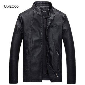 UplzCoo Мужской кожаные куртки осень и зима Толстые пальто мужчина мотоцикла кожаные куртки PU теплый толстый Мужская FM035
