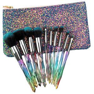 Пользовательский логотип Hot 10шт Кристалл набор кистей для макияжа Косметика для макияжа Кисти maquiagem Пудра Тени для век Подводка для губ Brush Tool