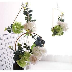 흰색 꽃 후프 화환, 11inch 인공 장미 꽃 열매 유칼립투스 포도 나무 화환 화환 매달려 펜던트 결혼식 배경 벽 장식