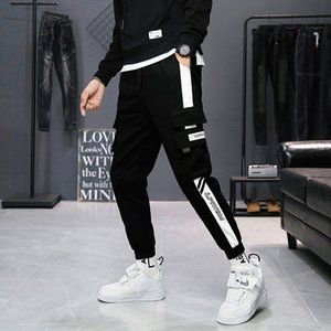 Men cargo pants 2020 new arrival spring and autumn pockets cotton letter male ankle-length pants teenager boys sale hot n61