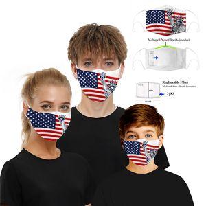 indicador del cráneo del diseñador mascarilla mascarilla con filtro de impresión digital a prueba de polvo PM2.5 Máscaras lavables Soporte regulable