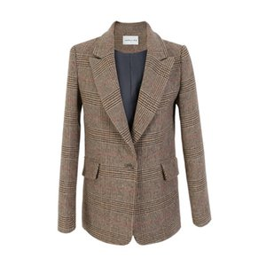 Autumn and winter new thousand bird plaid ladies casual woolen small suit jacket retro classic high quality woolen suit JQ314