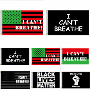 90*150CM I CAN'T BREATHE Flag Black Protest USA Banners Letters Print Garden Flags American Parade Flags Home Party Decor D6411